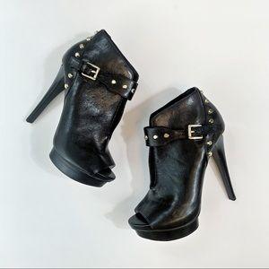 Michael Kors Leather Heeled Booties Size 7.5